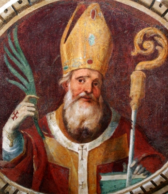 detail of a fresco depicting Saint Calimerus of Milan, Fiam