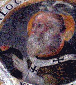medaliion painting of Saint Calocerus of Ravenna, date unknown, artist unknown; Sant' Apollinare Nuovo Church, Ravenna, Italy; photographed on 5 April 2006 by Georges Jansoone; swiped from Wikimedia Commons