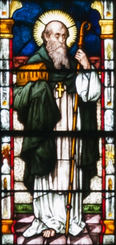 detail of a stained glass window depicting Saint Canice, created c.1900 by Meyer and Co; Cathedral of Saint Eugene, Derry, Northern Ireland; photographed on 17 September 2013 by Andreas F Borchert; swiped from Wikimedia Commons