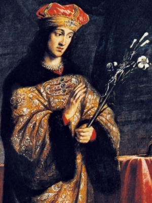 detail of the painting Saint Casimir Jagiellon, by Daniel Schultz, c.1670; Saint Casimir Church, Cracow, Poland; swiped from Wikimedia Common