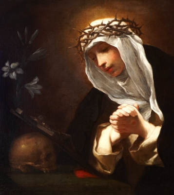 detail of the oil on canvas painting 'Saint Catherine of Siena', 17th century by Baldassare Franceschini; Dulwich Picture Gallery, Dulwich, London, England; swiped from Wikimedia Commons; click for source image