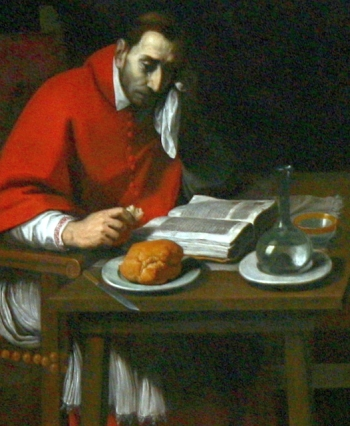 detail from the painting 'Saint Charles Borromoe Fasting' by Daniele Crespi, date unknown; left side nave, baptistry chapel, church of Santa Maria della Passione, Milan, Italy; photographed on 26 February 2008 by Giovanni Dall'Orto; swiped from Wikimedia Commons