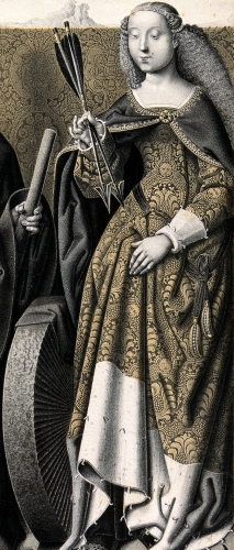 detail of the lithograph 'Saint James the Less and Saint Christina' by N J Strixner, 1829; part of the Wellcome Trust, United Kingdom; swiped from Wikimedia Commons