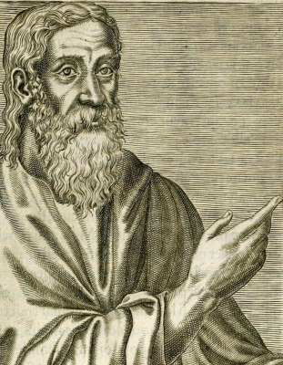 illustration of Saint Clement of Alexandria from 'Les vrais pourtraits et vies des hommes illustres grecz, latins et payens' (1584) by André Thevet; swiped from Wikimedia Commons