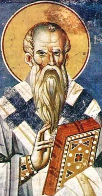 detail of a frescoe of Saint Clement of Ohrid, artist unknown, c.1295,  monastery of Saint Clement, Macedonia; swiped from Wikimedia Commons