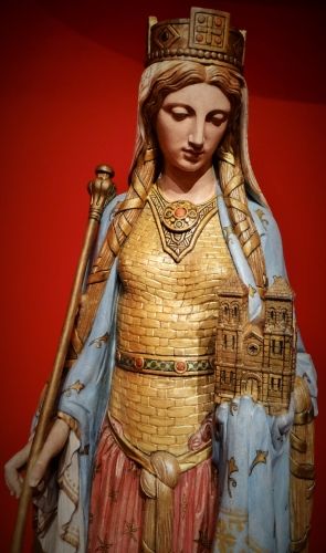 painted and gilded stone, glass and enamel sculpture of Saint Clotilde; Eugène Guillaume, sculptor, Alexandre Denuelle, painter, 1854; Church of Saint Clothilde, Paris, France; photographed on 17 June 2018 by Ibex73; swiped from Wikimedia Commons