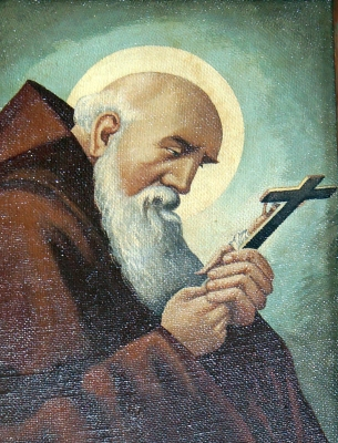 detail of a painting of Saint Conrad of Parzham; date unknown, artist unknown; monastery church of the Assumption, Pielenhofen, Germany; photographed on 6 September 2014 by DALIBRI; swiped from Wikimedia Commons; click for source image