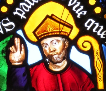 detail of a stained glass window of Saint Contest, bishop of Bayeux; Duval et Panchet Bellerose, 1839; chapel of Saint-Hilaire, Saint-Contest and S
