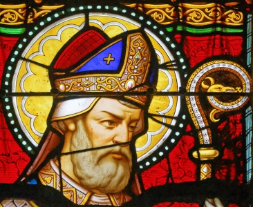 detail of a stained glass window of Saint Corentius in the cathedral of Saint-Corentin de Quimper, France; date and artist unknown; photographed on 23 July 2015 by Thesupermat; swiped from Wikimedia Commons; click for source image