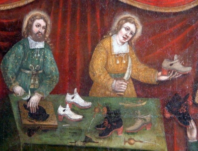 detail of the painting 'Saint Crispin and Saint Crispian', 1669 by Julien Quintin, brotherhood s