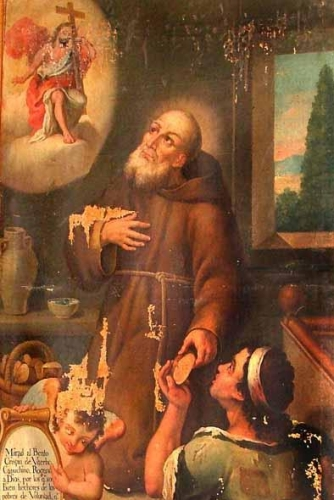 detail of a mural painting of Saint Crispin of Viterbo, artist unknown, c.1808; swiped from Wikimedia Commons