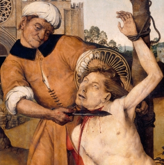 detail of the painting 'Martyrdom of Saint Cucuphas' by Ayne Bru, 1500-1507; National Art Museum of Catalonia, Spain; swiped from Wikimedia Commons