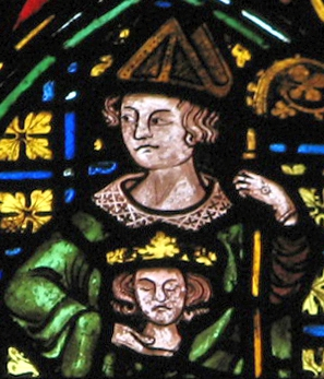 stained glass window of Saint Cuthbert of Lindisfarne, Christ Church cathedral, c.1320; artist unknown; depicts the saint in pontificals, holding the head o