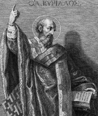 19th century illustration of Saint Cyril of Jerusalem by  Francesco Bartolozzi; swiped from Wikimedi