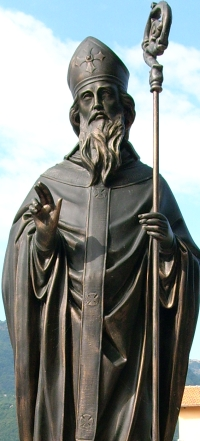 detail of a statue of Saint Dalmatius of Pavia, date unknown, artist unknown; Pornassio, Liguria, Italy; photographed on 2 September 2007 by Davide Papalini; swiped from Wikimedia Commons
