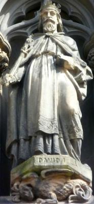 statue of Saint David of Scotland on the west door of Saint Giles High Kirk, Edinburgh, Scotland, artist unknown