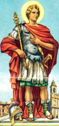 detail of an Italian holy card of Saint Defendente the Theban as patron of Romano di Lombardia, Italy; date and artist unknown; swiped from Santi e Beati