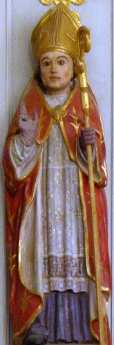 statue of Saint Demet of Plozévet, c.1800, artist unknown; Church of Saint-Demet de Plozévet, Finistère, France; photographed on 21 July 2013 by GO69; swiped from Wikimedia Commons