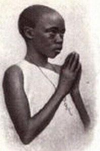 detail from a German holy card of Saint Denis Ssebuggwawo