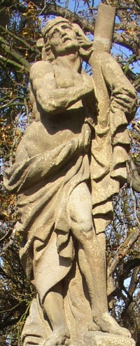 statue of Saint Dismas on a bridge in Breznice, Príbram District, Czech Republic; 1750, artist unknown; photographed in October 2005 by Miaow Miaow; swiped from Wikimedia Commons