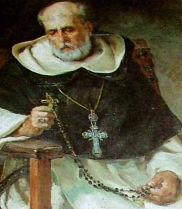 detail of painting of Saint Domingo Henares de Zafra Cubero, date and artist unknown; swiped from Santi e Beati; click for source image