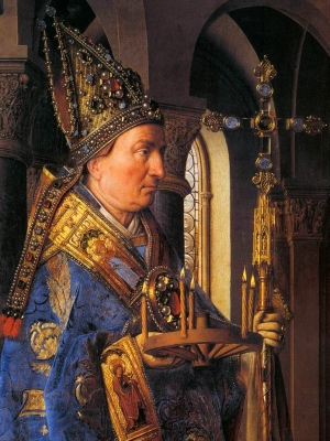detail of Saint Donatian of Rheims from the paiting 'The Madonna with Canon van der Paele' by Jan van Eyck, 1436; Groeningemuseum, Bruges, Belgium; swiped from Wikimedia Commons