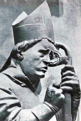 statue of Saint Donatus of Besancon from a German holy card, artist unknown, date unknown, photographer unknown
