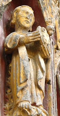 statue of Saint Edburga on the church of Stanton Harcourt, England, which houses a 12th century shrine to Edburga; photographed by Father Lawrence Lew, OP; swiped off his flickr page, and used with permission