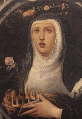 detail of a painting of Saint Edith of Wilton b Juan de Roelas, c.1605; church of San Miguel and San Julián, Valladolid, Spain; swiped from Wikimedia Commons