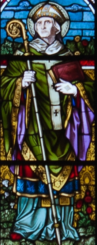 detail of a stained glass window of Saint Edmund Rich, date unknown, artist unknown; east wall, east transept, Saint Mary's Church, Clonmel, County Tipp