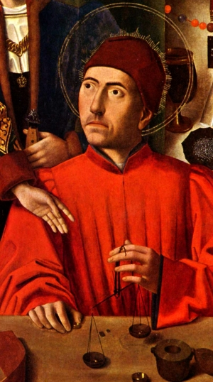 detail from the painting 'Saint Eligius, as a Goldsmith, Hands the Wedding Couple a Ring', by Petrus Christus, 1469, oil on wood, The Metropolitan Museum of Art, New York