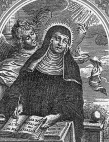 detail of an Italian holyc ard of Saint Elizabeth of Schonau, date and artist unknown; swiped from Santi e Beati; click for source image