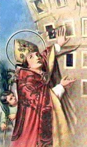 detail from an antique holy card of Saint Emidius of Ascoli Piceno
