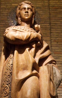 detail of a statue of Saint Encratia of Saragossa, date unknown, artist unknown; Crypt of the Church of Santa Engracia, Zaragoza, Spain