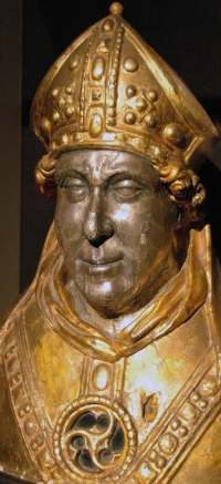detail of a reliquary bust of Saint Engelbert of Cologne, Essen Cathedral, date unkown, artist unknown; photographed on 19 October 2008 by Sir Gawain; swiped from Wikimedia Commons