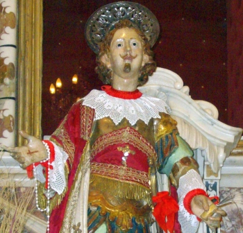 detail of a statue of Saint Ephysius of Sardinia; date unknown, artist unknown; Cagliari, Sardinia; photographed in April 2008 by Giova81; swiped from Wikimedia Commons