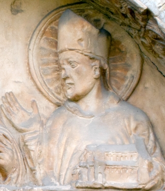 bas-relief of Saint Epiphanius; date unknown, artist unknown; detail of a tympanum at the main, north-west door of the Basilica of Saint Godehard, Hildesheim, Germany; photographed on 3 October 2011 by Hildesia; swiped from Wikimedia Commons; click for source image