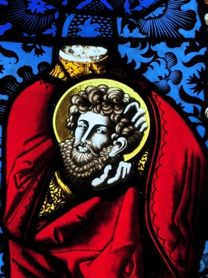 detail of a 16th-century stained glass window of Saint Exuperantius; date unknown, artist unknown; Reformed Church, Lindenplatz, Elgg, Switzerland; photographed on 20 September 2011 by Roland zh; swiped from Wikimedia Commons