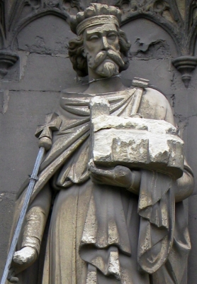 detail of a sculpture of Saint Ethelbert of Kent, Canterbury Cathedral, England; date unknown, sculptor unknown; photographed on 15 February 2009 by Saforrest; swiped off Wikimedia Commons