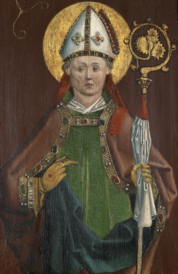 detail of an altarpiece depicting Saint Eucharius; oil and gold on wood, c.1480, artist unknown; photographed on 25 April 2013 by Dorotheum; swiped from Wikimedia Commons; click for source image