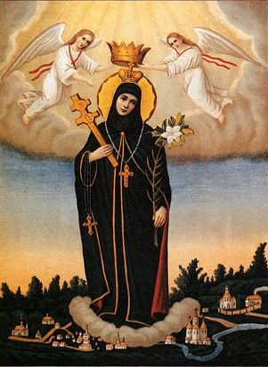 anonymous 19th century Russian icon of Saint Euphrosyne of Polotsk; swiped from Wikimedia Commons