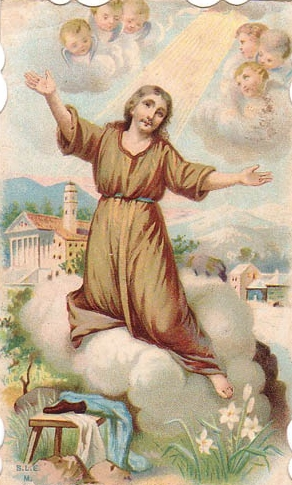 detail of an Italian holy card of Saint Euseus, date and artist unknown; swiped from Santi e Beati