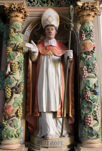 statue of Saint Eutrope, date and artist unknown; southern altar, Holy Cross Church, Morbihan, Brittany, France; photographed on 2 October 2013 by XIIIfromTOKYO; swiped from Wikimedia Commons