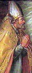 detail of a painting of Saint Evasius of Asti; 1677, artist unknown; swiped from Wikimedia Commons; click for source image