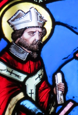 detail of a stained glass window of Saint Exuperius of Bayeux, c.1848, chapel of Saint-Julien and Saint-Exupere, Bayeux, France; artist unknown; photographed by Giogo on 16 August 2012; swiped off Wikipedia