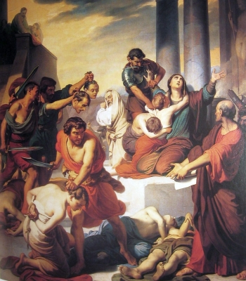 the painting 'The Martyrdom of Saint Felicity and Her Seven Sons'; Francesco Coghetti, 19th century; parish church in Ranica, Bergamo, Italy; photographed on 15 December 2007 by Ago76; swiped from Wikimedia Commons; click for source image