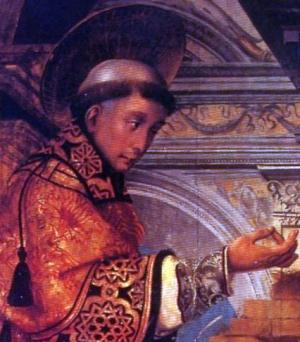 detail of a painting of Saint Felix of Gerona preaching, c.1520, Juan Borgunyo