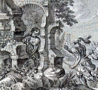 detail of an ink drawing by Peter Vischer (1751-1823) of Saint Felix hiding from soldiers and being protected by a