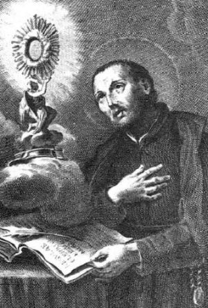 18th century illustration of Saint Francis Caracciolo; artist unknown; uploaded by MaryHenryettaCarson; swiped from Wikimedia Commons; click for source image