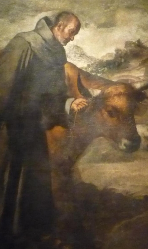detail of a the painting 'Saint Francis Solanus and the Bull' by Bartolomé Esteban Murillo, 1645;  Reales Alcázares de Sevilla, Seville, Spain; photographed on 26 February 2000 by Marbregal; swiped from Wikimedia Commons